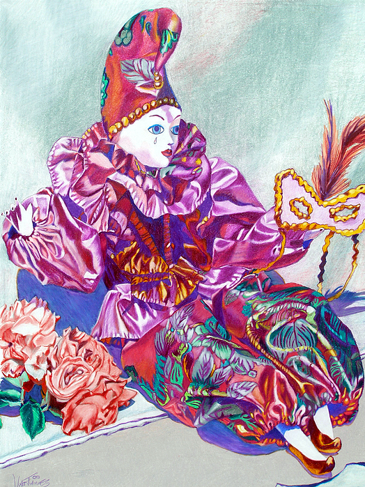 Doll Drawing - Harlequin Party Girl by CJ Van James