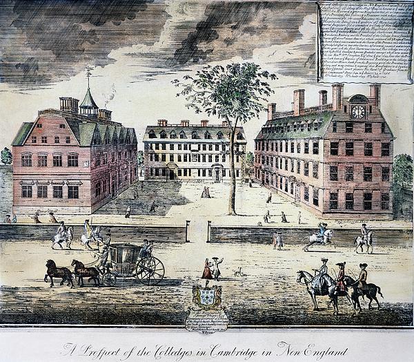 1725 Photograph - Harvard College, C1725 by Granger