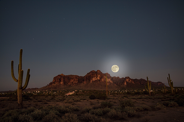 Fullmoon Photograph - Harvest Moon Over Superstition Mountain by Trish VanHousen