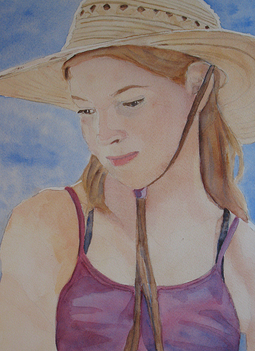 Girl Painting - Hat And Shoulders by Jenny Armitage