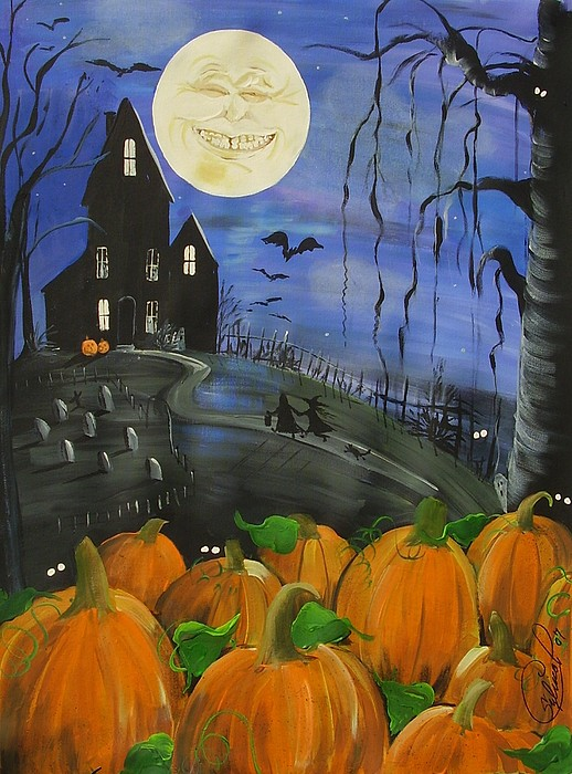 Trick Or Treat Painting - Haunted Night by Sylvia Pimental