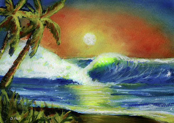 Hawaiian Sunset Painting - Hawaiian Moon #399 by Donald k Hall