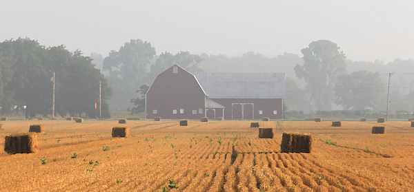 Hay Bales Photograph - Hay Bales And Red Barn At Sunrise by Jack Schultz