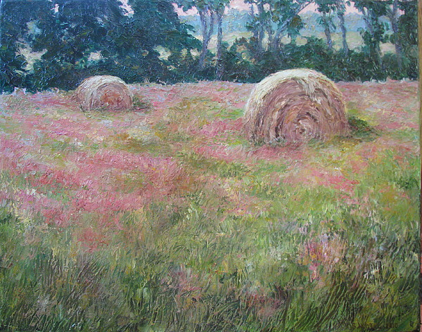 Landscape Painting - Hayrolls by Stephen Howell