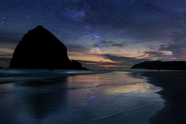 Haystack Rock Photograph - Haystack Rock Under Starry Night Sky by David Gn