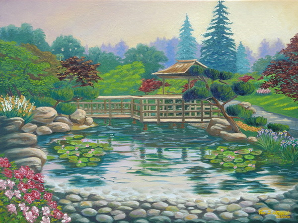 Hayward Japanese Garden Painting by Tan Nguyen