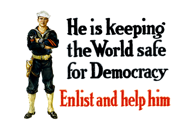 Navy Painting - He Is Keeping The World Safe For Democracy by War Is Hell Store