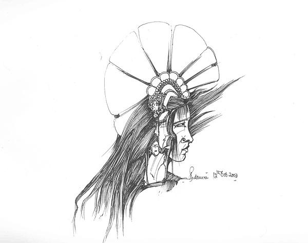 Human Drawing - Head by Padamvir Singh