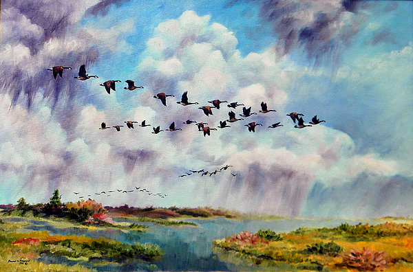 Canadian Geese Painting - Heading East by David  Maynard