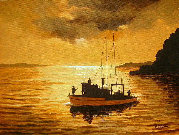 Seascape Painting - Heading  In by Shasta Eone
