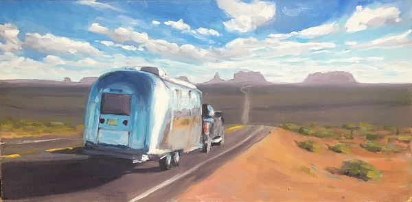 Airstream Painting - Heading South Towards Monument Valley by Elizabeth Jose