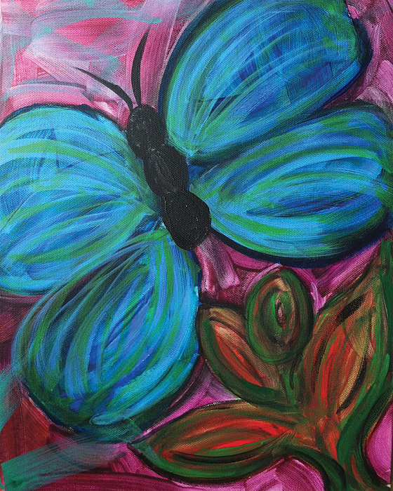Nature Painting - Healing Rain Butterfly by Bethany Stanko