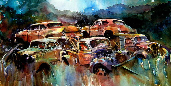 Cars Painting - Heaped Wrecks by Ron  Morrison