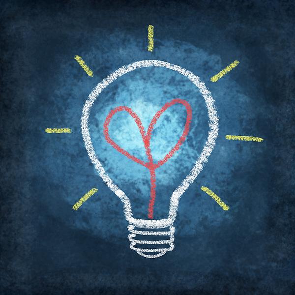 Blackboard Photograph - Heart In Light Bulb by Setsiri Silapasuwanchai