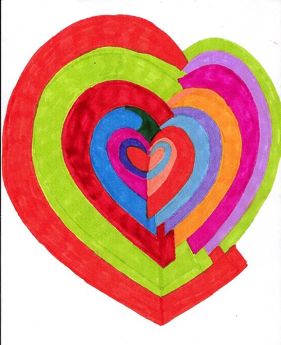 Drawing Drawing - Heart Maze by Brenda Adams