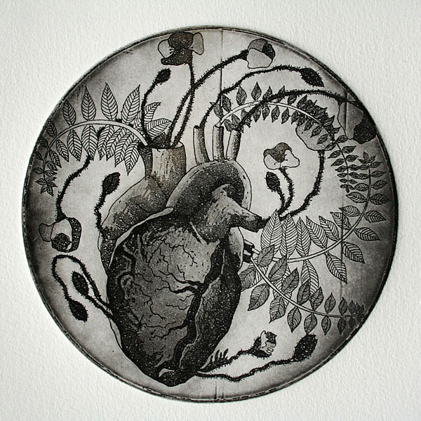 Intaglio Drawing - Heart Of Poppies by Sonja Dimovska