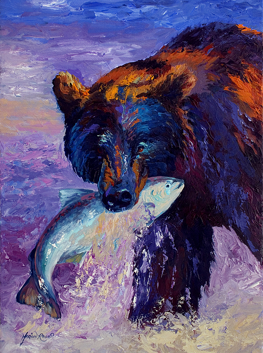 Bear Painting - Heartbeats Of The Wild by Marion Rose