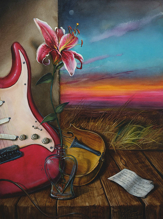 Violin Painting - Hearth by Martin Katon