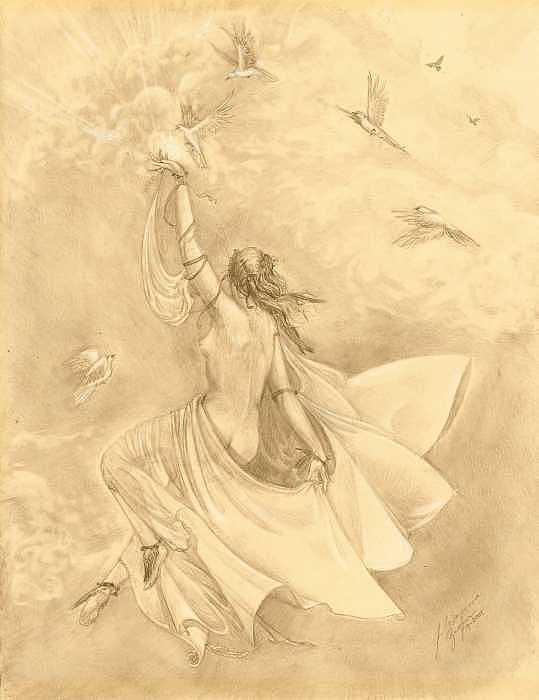 Flying Drawing - Heavenward by Julianna Ziegler