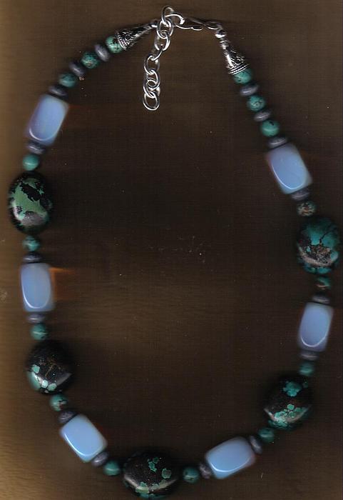 Mens Jewelry Jewelry - Heavy Mans Hubei Tq And Opal Choker by White Buffalo