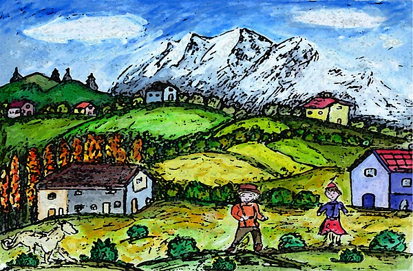 Folkart Painting - Heidi Country by Monica Engeler