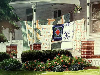 Quilts Painting - Heirlooms For Sale by Debra L Smith