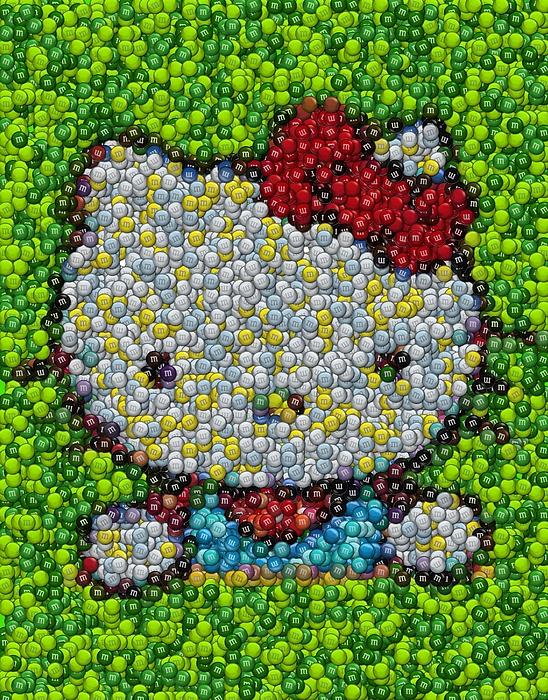 Mms Digital Art - Hello Kitty Mm Candy Mosaic by Paul Van Scott