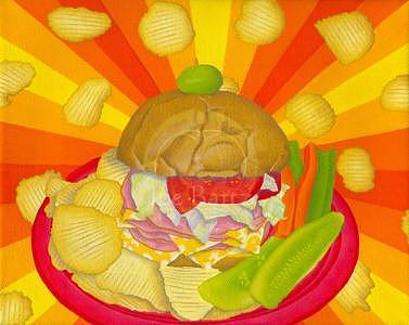 Sandwich Painting - Helluva Ham Sandwich by Joe Bartz