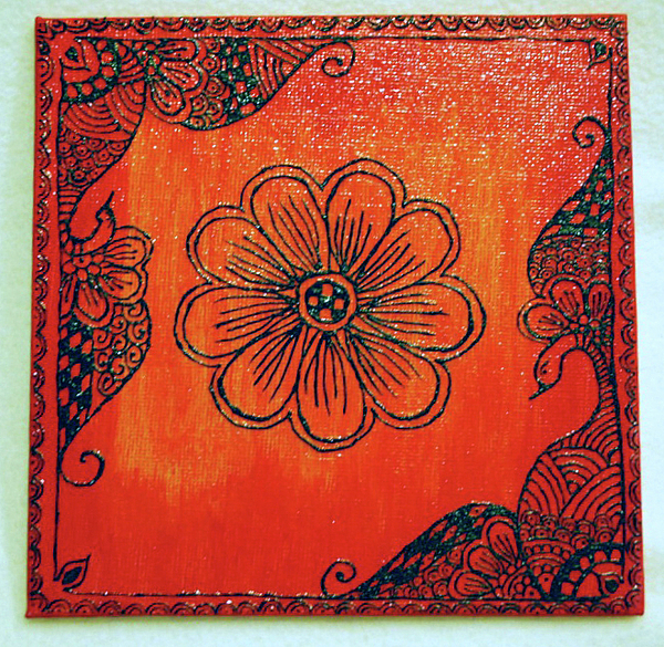 Henna On Canvas Panel Painting By Karina Khan