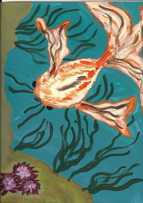 Fish Painting - Here Fishy Fishy by Laura Lillo