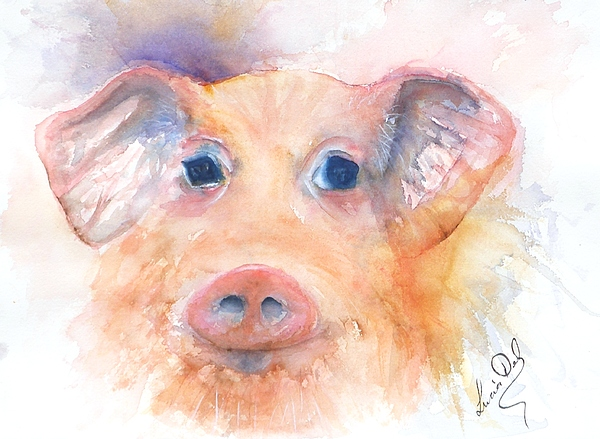Artwork Painting - Here Piggy by Lucia Del