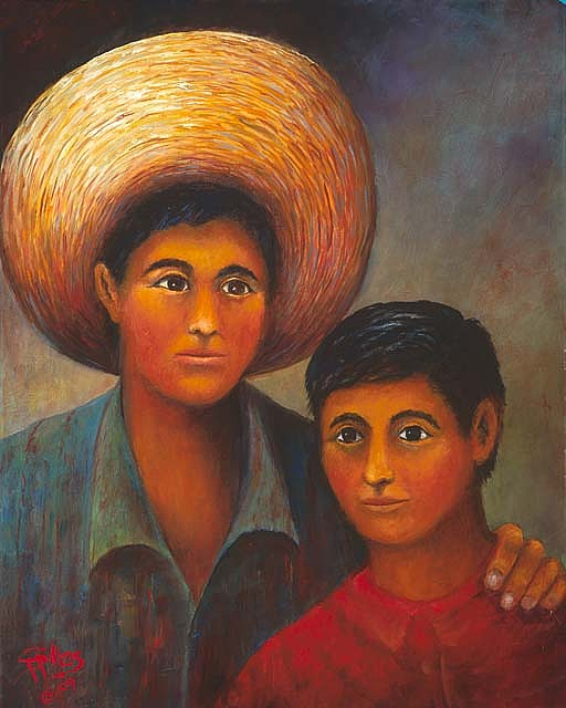 Siblings Painting - Hermanos  by Herman Sillas