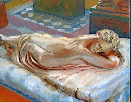 Statuary Painting - Hermaphrodite After Canovas by Carlos Sanjurjo