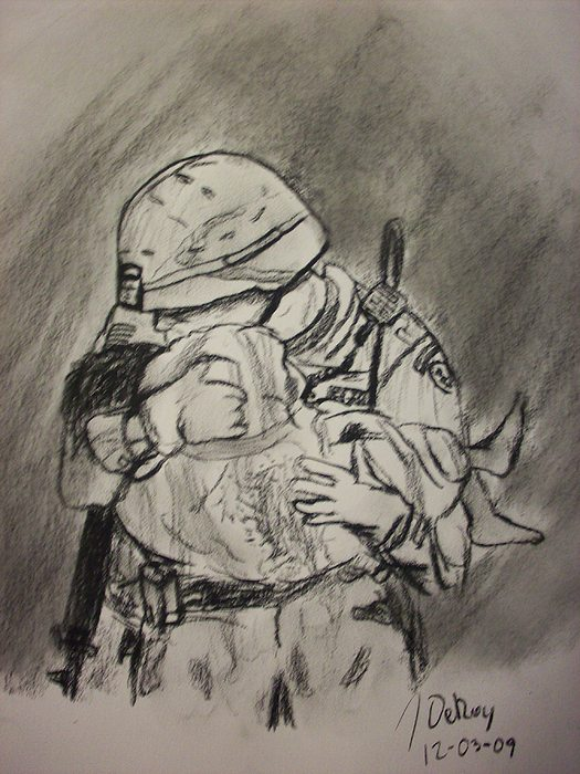 Iraq Drawing - Hero by John DeRoy