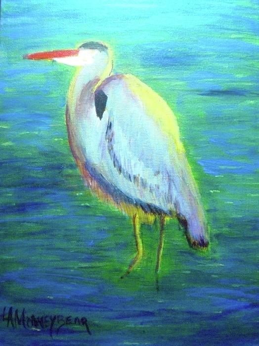 Bird Painting - Heron by Lauren Mooney Bear