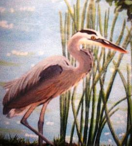 Heron On My Pond Painting by Lois Sallans