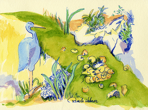 Blue Painting - Herron Pond by Pamee Hohner