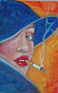 Woman Smoking Painting - Hey There by Mickie Boothroyd