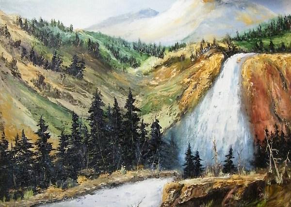 Hiawatha Falls Painting by Larry Doyle