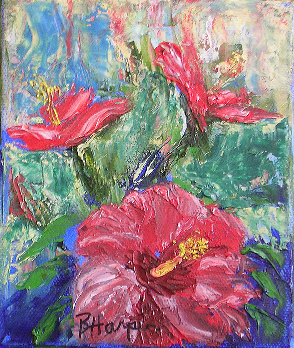 Hibiscus Painting - Hibiscus Abstract by Barbara Harper
