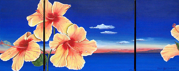 Seascape Painting - Hibiscus by Sharon Ebert