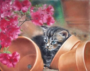 Cat Painting - Hidden In The Garden by Rose Baggs