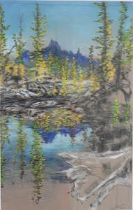Lake Reflection Painting - High Country Lake by Dan Bozich