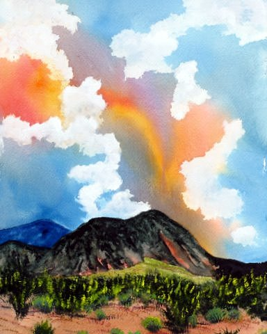 New Mexico Landscape Painting - High Desert Cloudscape by Abad Sandoval
