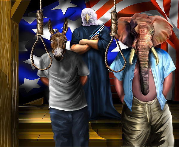 Obama Painting - High Treason - State Of The Union-a House Divided1 by Reggie Duffie