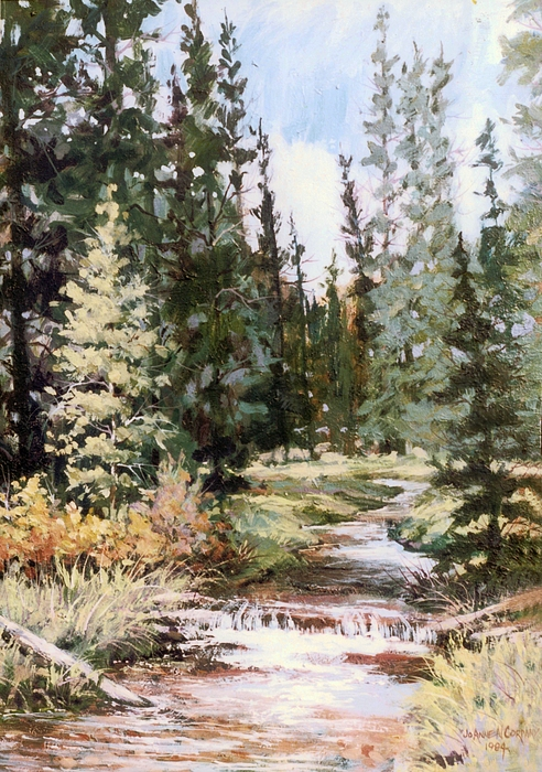 Stream Painting - High Uintah Stream by JoAnne Corpany