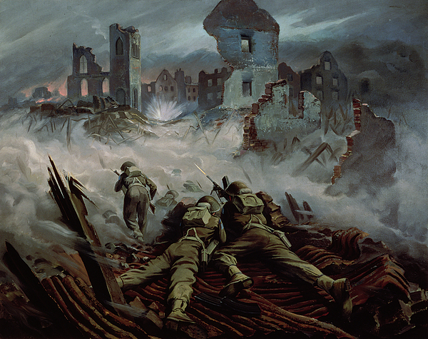 Stormont Painting - Highlanders Advancing To Caen by Orville Norman Fisher