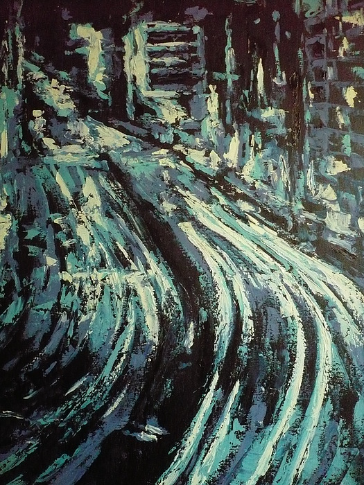 Highway Painting - Highway Highlighted by Ericka Herazo