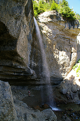 Waterfalls Photograph - Hiking Behind Wind Cave Falls by Gene Mace