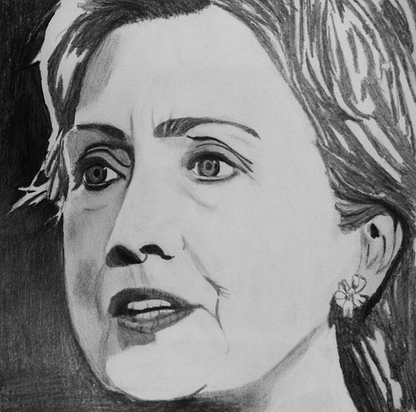 Portrait Drawing - Hillary Clinton by Kenneth Regan